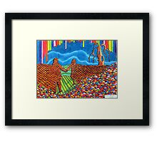 274 - IF ONLY THESE BRICKS COULD TALK III (THE WALL OF FRIENDSHIP) - DAVE EDWARDS - COLOURED PENCILS & FINELINERS  - 2009 Framed Print