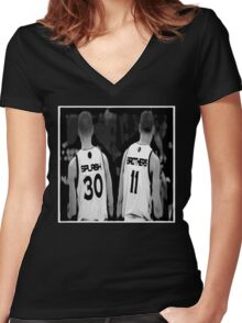 G.S. Warriors Splash Brothers Black and White. Women's Fitted V-Neck T-Shirt