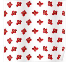 Cute Little Red Watercolor Flower Pattern Poster