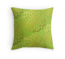 Dahlia on acid green and gold pattern design Throw Pillow