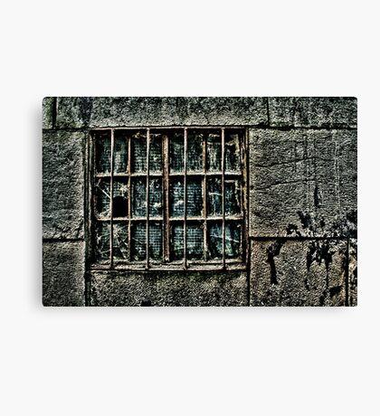 Broken Metal Window Fine Art Print Canvas Print