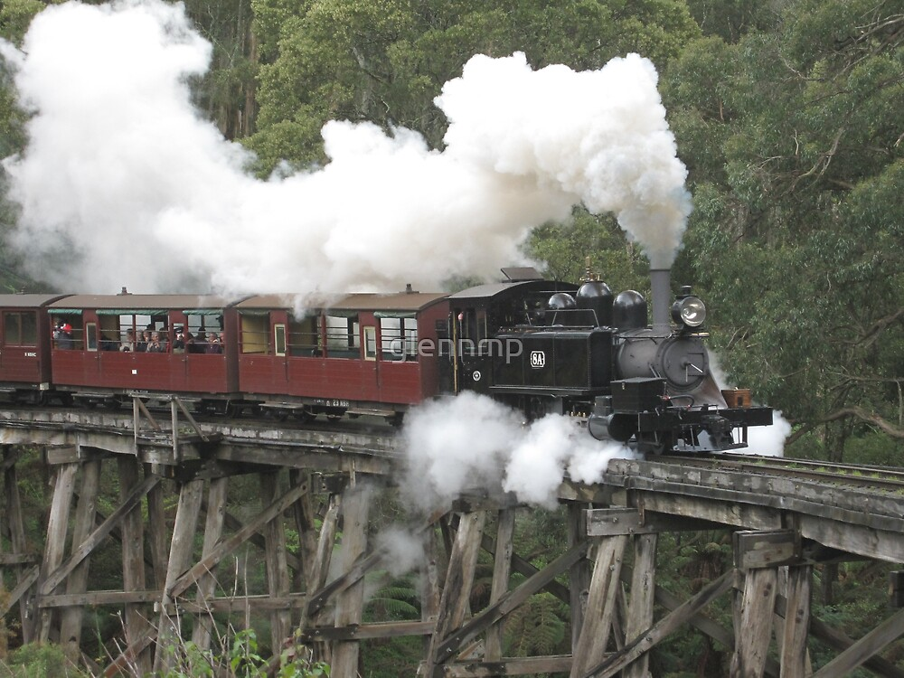 Puffing Billy - Crossing The Trestle Bridge at Selby by glennmp
