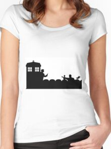 The TARDIS lands on the Satellite of Love Women's Fitted Scoop T-Shirt