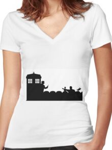 The TARDIS lands on the Satellite of Love Women's Fitted V-Neck T-Shirt