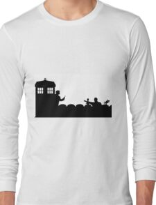 The TARDIS lands on the Satellite of Love Long Sleeve T-Shirt