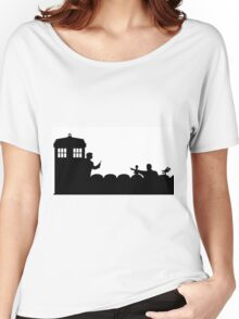 The TARDIS lands on the Satellite of Love Women's Relaxed Fit T-Shirt