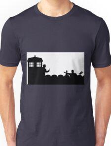 The TARDIS lands on the Satellite of Love Unisex T-Shirt
