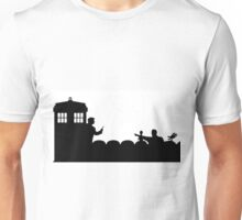 The TARDIS lands on the Satellite of Love Unisex T-Shirt