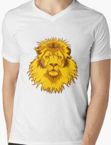 Lion Head Mens V-Neck T-Shirt