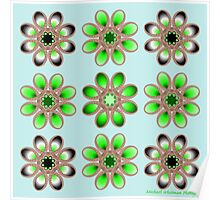 Shades of Green Foot Flowers Poster