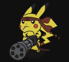 pokemon pikachu peace machine gun chibi anime shirt Kids Clothes