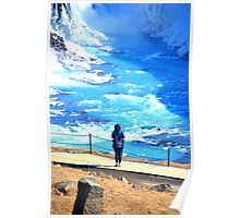 Woman in front of Gullfoss Waterfall, Iceland Poster