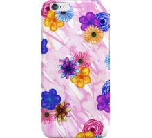 Pretty Girly Watercolor Flowers on Pink Watercolor iPhone Case/Skin