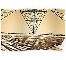 Desert Power Lines in Saudi Arabia Poster