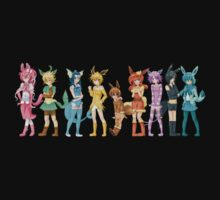 pokemon gijinka cute chibi eevee evolution anime shirt Kids Clothes