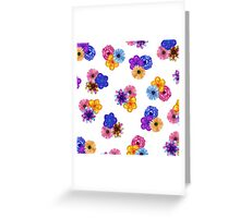 Pretty Girly Watercolor Flowers on White Greeting Card