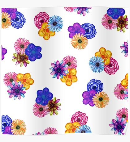 Pretty Girly Watercolor Flowers on White Poster
