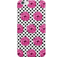 Pretty in Pink Watercolor Flowers on Polka Dots iPhone Case/Skin