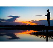 Fishing at Sunset Photographic Print