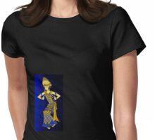 Balinese Dancer & Frangipani (Blue-Brown) Womens Fitted T-Shirt