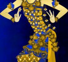 Balinese Dancer & Frangipani (Blue-Brown) Sticker