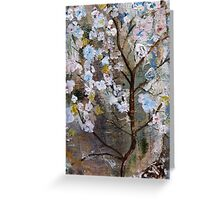 Cherry Blossoms Pink and Blue Greeting Card