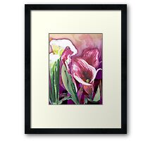 White, pink lilies Framed Print