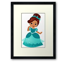 African American  Princess in a turquoise dress Framed Print