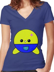 Face cute Women's Fitted V-Neck T-Shirt