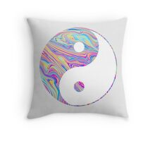 Rainbow Swirl Yin Yang Throw Pillow