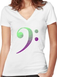 Bass Clef Women's Fitted V-Neck T-Shirt