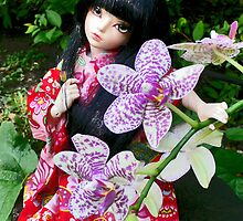 Japanese Girl and orchid by MaryHogan
