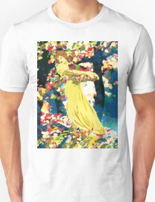 Lady With Forest Flowers Unisex T-Shirt
