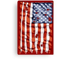 American flag with bullet holes Canvas Print
