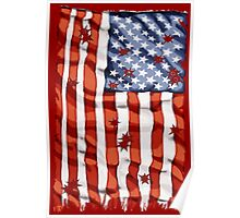 American flag with bullet holes Poster