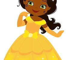 African American Beautiful Princess in a yellow dress by Sandytov