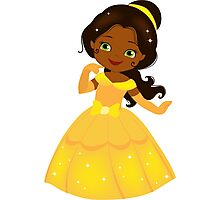 African American Beautiful Princess in a yellow dress Photographic Print
