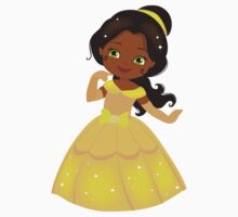 African American Beautiful Princess in a yellow dress Kids Clothes