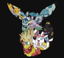 pokemon eevee espeon umbreon evolutions anime chibi shirt by JordanReaps