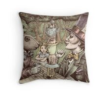 alice at the mad tea party Throw Pillow