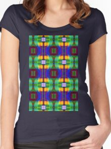 Be Happy, abstract fractal design Women's Fitted Scoop T-Shirt