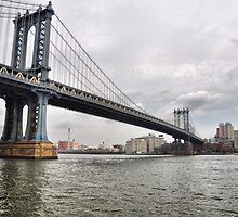 Manhattan Bridge From East River Park by joan warburton
