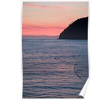 levanto beach at sunset, italy Poster
