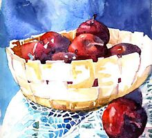 Apples in a stone bowl by guilliart
