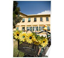 Sunflowers on bike in Levanto, Italy Poster