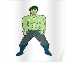 Green Angry Man Clenching Fist Cartoon Poster
