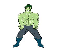 Green Angry Man Clenching Fist Cartoon Photographic Print
