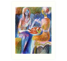 Girls chat Art Print
