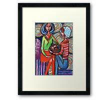 Decorative girls chat Framed Print