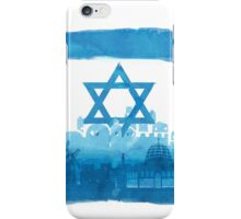 Israeli Flag & City skyline - watercolor iPhone Case/Skin